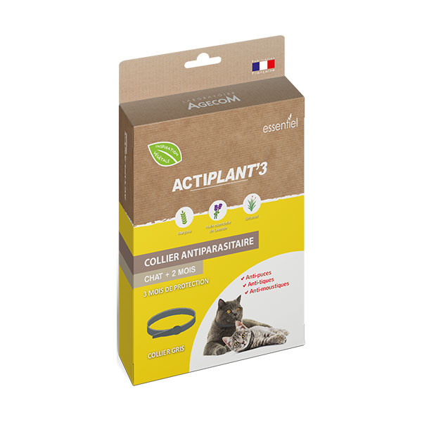 ActiPlant'3 Colllier Insectifuge Antiparasitaire pour Chat - Gris