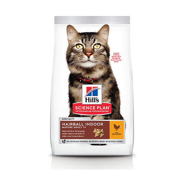 Hill's Science Plan Feline Mature Adult 7+ Hairball Indoor Poulet - 1,5 Kg