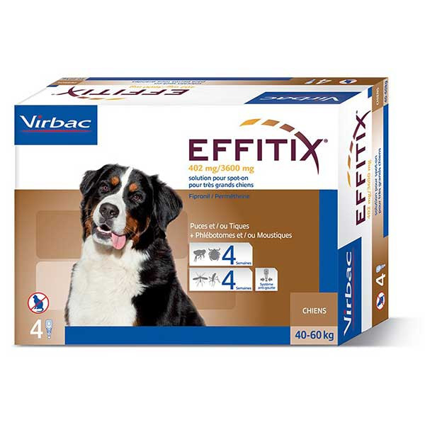 Effitix Spot-On Très Grand Chien (40-60 kg) - 4 pipettes