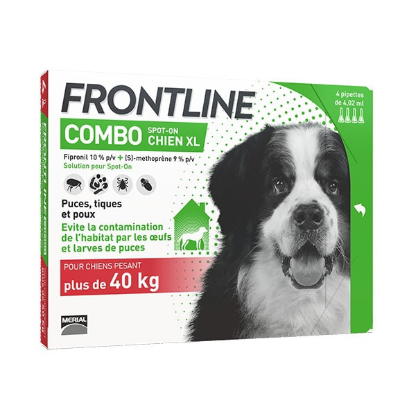 Frontline Combo XL Chien (>40 kg) - Pack 12 pipettes